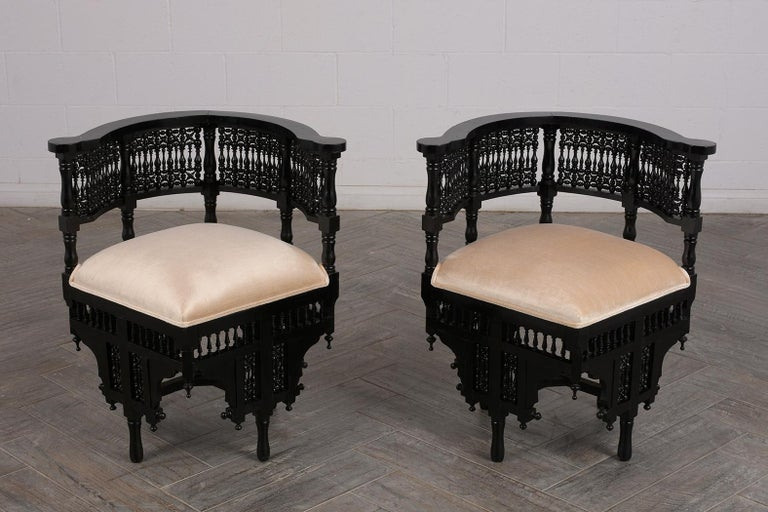 Islamic Pair of Antique Ebonized Syrian Style Corner Chairs For Sale