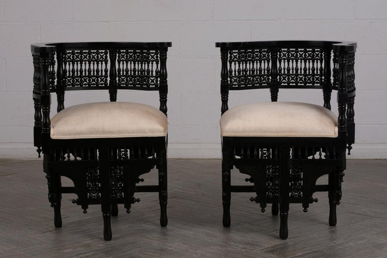 Hand-Crafted Pair of Antique Ebonized Syrian Style Corner Chairs For Sale