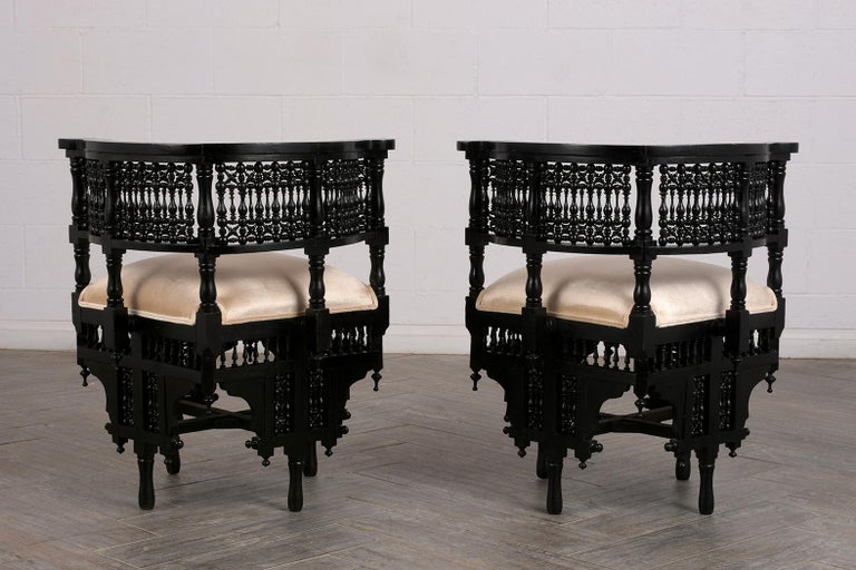 Pair of Antique Ebonized Syrian Style Corner Chairs In Good Condition For Sale In Los Angeles, CA