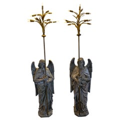 Pair of Antique Ecclesiastical Angel Torchieres