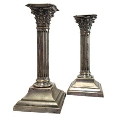 Pair of Antique Edwardian Corinthian Candlesticks in Distressed Silver Plate
