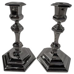 Pair of Antique Edwardian Gorham Georgian Sterling Silver Candlesticks