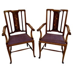 Pair of Antique Edwardian Inlaid Mahogany Desk Chairs