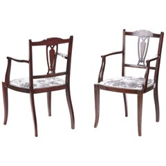 Pair of Antique Edwardian Mahogany Inlaid Armchairs