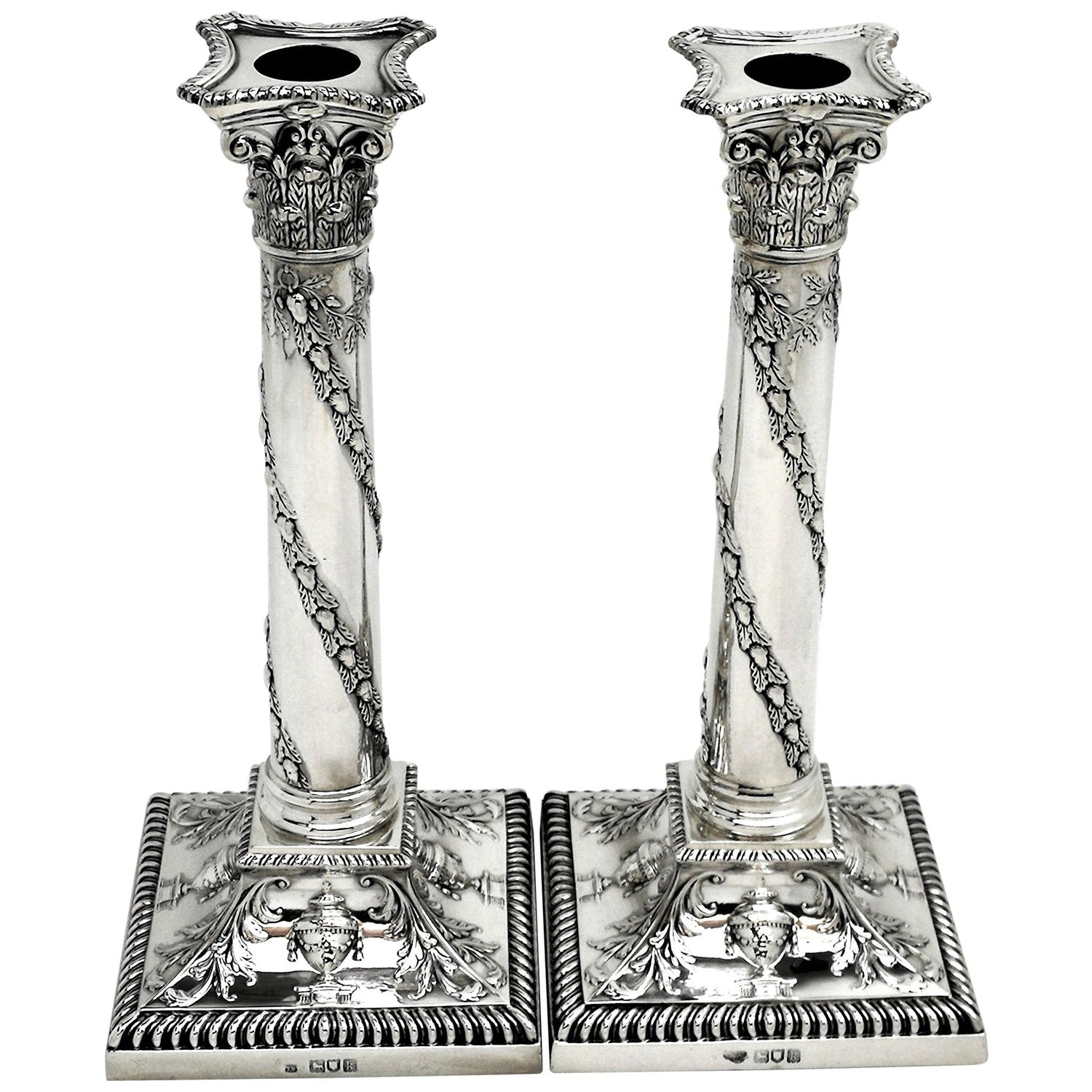 Pair of Antique Edwardian Sterling Silver Candlesticks, 1905