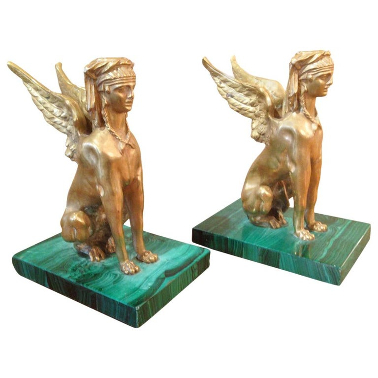 Pair of Antique Egyptian Sphinx Sculptures For Sale