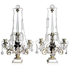 Pair of Antique Elaborate Gilt Bronze and Crystal Candelabras or Candleholders
