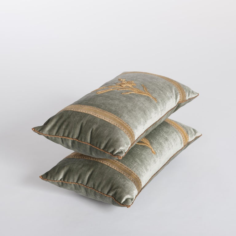 French Pair of Antique Embroidery Pillows Pastel Green Colored For Sale