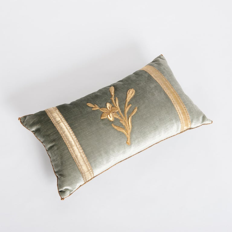 Hand-Crafted Pair of Antique Embroidery Pillows Pastel Green Colored For Sale