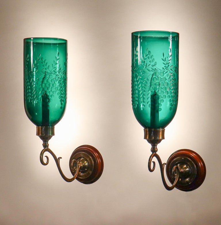 Victorian Pair of Antique Emerald Green Hurricane Shade Wall Sconces For Sale
