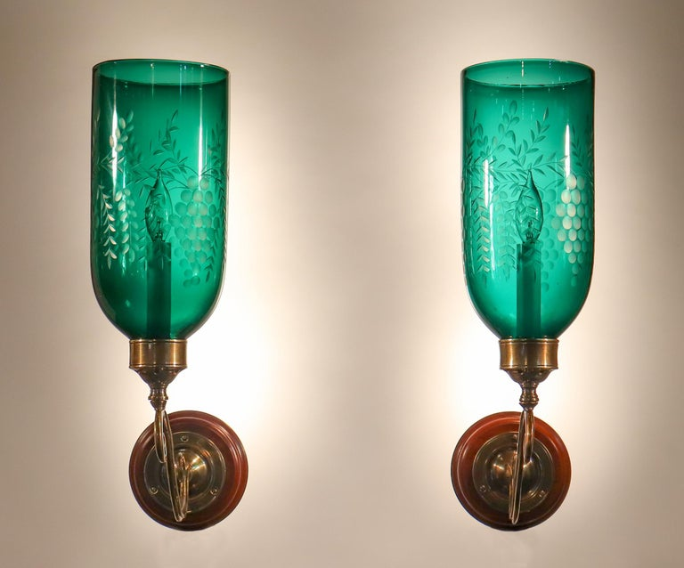 English Pair of Antique Emerald Green Hurricane Shade Wall Sconces For Sale