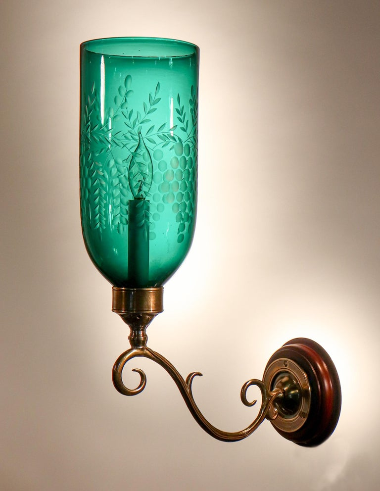 Pair of Antique Emerald Green Hurricane Shade Wall Sconces In Good Condition For Sale In Heath, MA