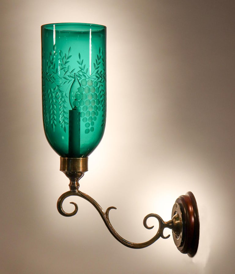 19th Century Pair of Antique Emerald Green Hurricane Shade Wall Sconces For Sale