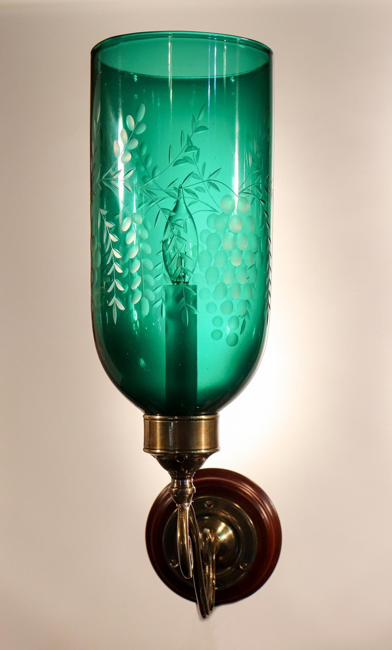 Brass Pair of Antique Emerald Green Hurricane Shade Wall Sconces For Sale
