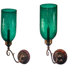 Pair of Antique Emerald Green Hurricane Shade Wall Sconces