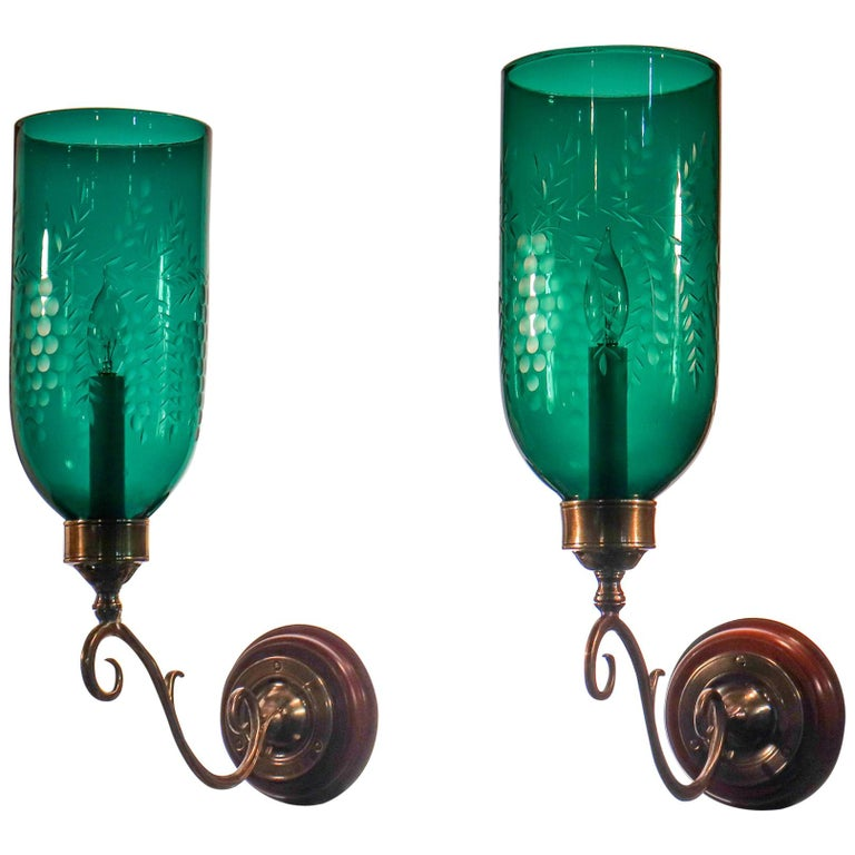 Pair of Antique Emerald Green Hurricane Shade Wall Sconces For Sale