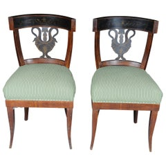 Pair of Antique Empire Chairs, circa 1810, Cherrywood