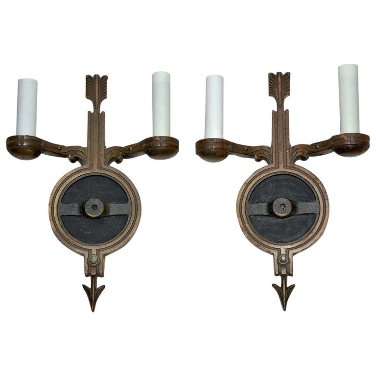 Pair of Antique Empire-Style Cast Metal Sconces For Sale