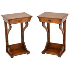 Pair of Antique Empire Style Fruit Wood Side Tables