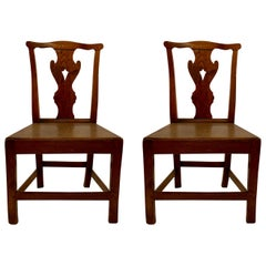 Pair of Antique English 18th Century Elm Side Chairs
