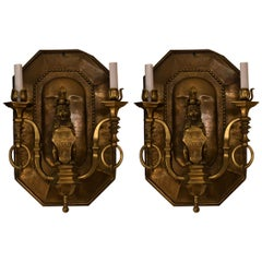 Pair of Antique English Brass Fleur-de-Lis and Lion Wall Sconces circa 1910-1920