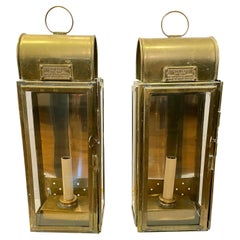 Pair of Antique English Brass Lantern Sconces