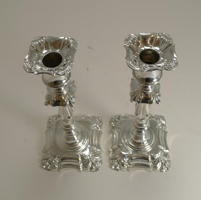 Late Victorian Pair of Antique English Candlesticks by Elkington, 1853 For Sale