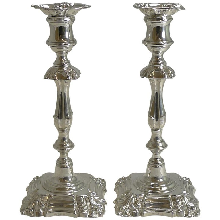 Pair of Antique English Candlesticks by Elkington, 1853 For Sale