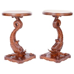 Pair of Antique English Carved Wood Dolphin Stands or Pedestals