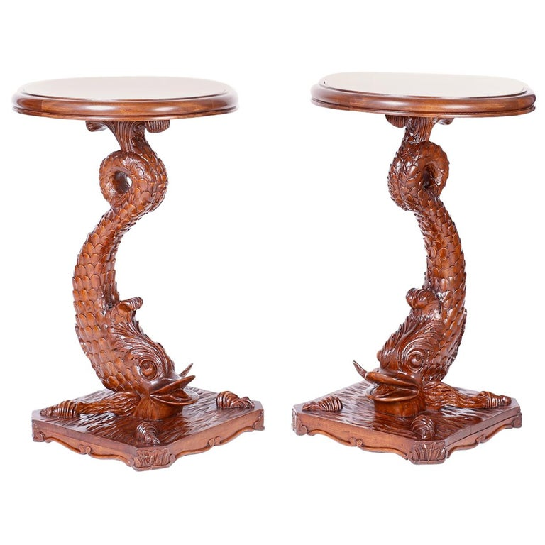 Pair of Antique English Carved Wood Dolphin Stands or Pedestals For Sale