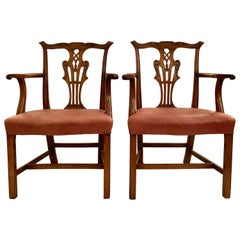 Pair of Antique English Chippendale Armchairs, circa 1880