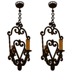 Pair of Antique English Dark Brown Colored Iron Hall Lights, circa 1910-1919