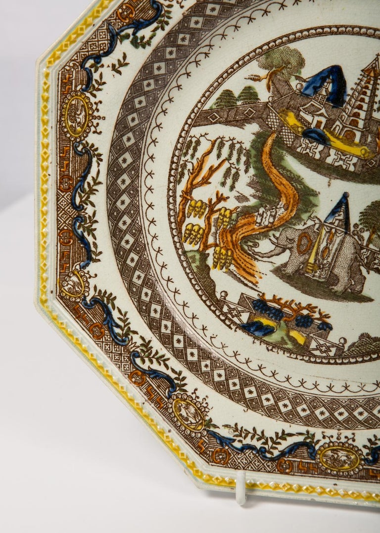 Pair of Antique English Dishes Showing Elephants 'Image Shows One of the Pair' For Sale 7