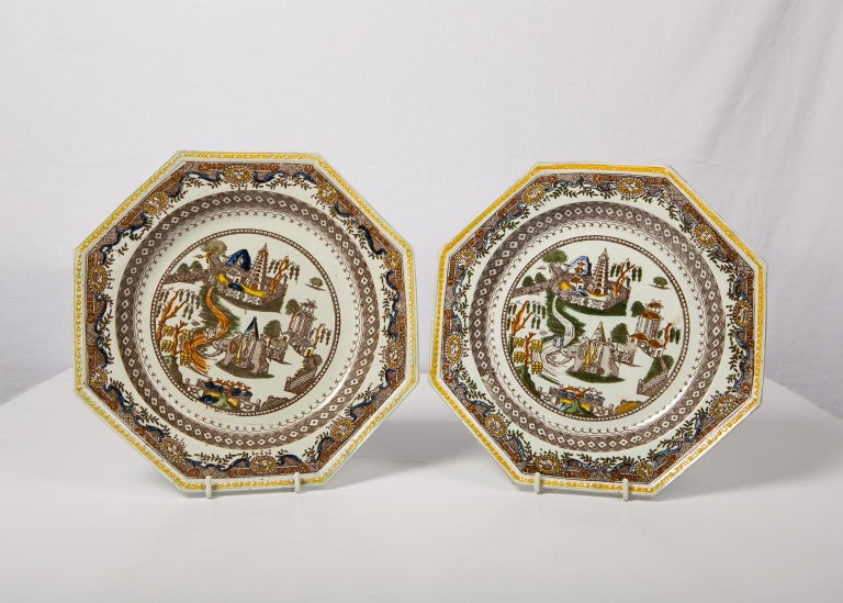 Chinoiserie Pair of Antique English Dishes Showing Elephants 'Image Shows One of the Pair' For Sale