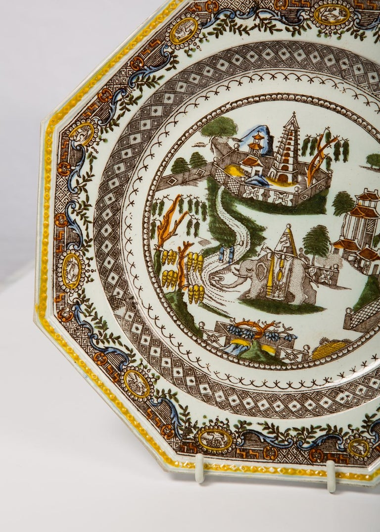 Pair of Antique English Dishes Showing Elephants 'Image Shows One of the Pair' For Sale 1