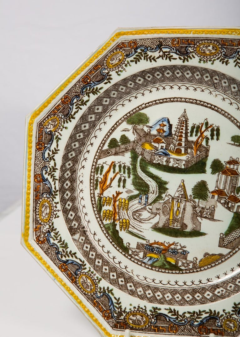 Pair of Antique English Dishes Showing Elephants 'Image Shows One of the Pair' For Sale 3