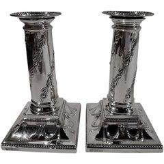 Pair of Antique English Edwardian Regency Sterling Silver Candlesticks