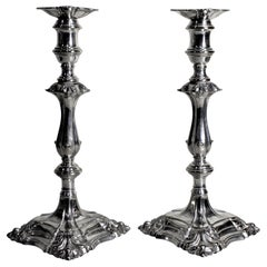 Pair of Antique English Edwardian Silver Plated Candlesticks