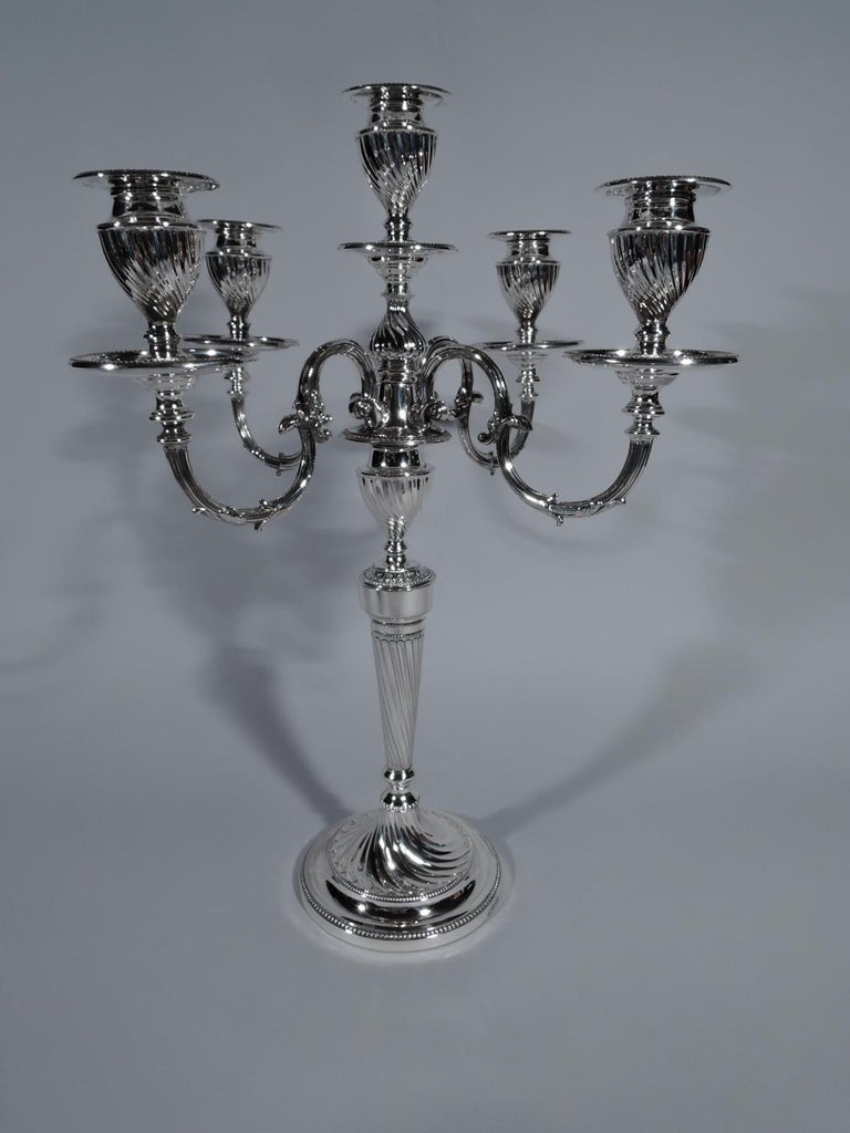Early 20th Century Pair of Antique English Edwardian Sterling Silver 5-Light Candelabra For Sale