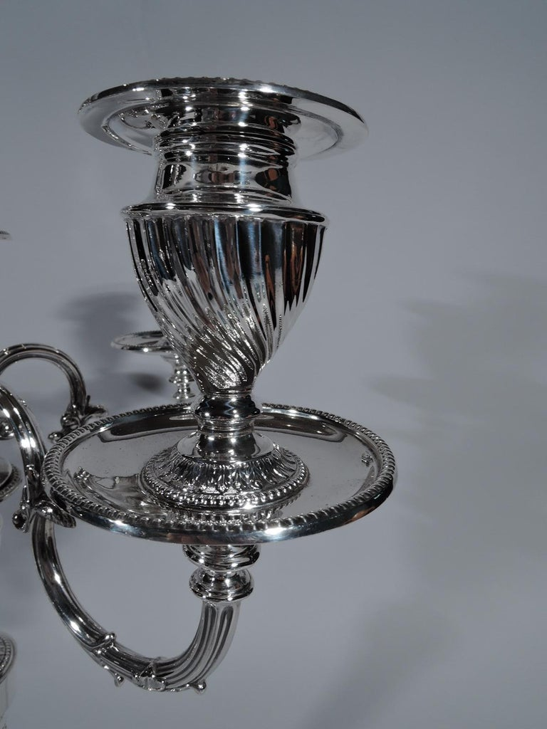 Pair of Antique English Edwardian Sterling Silver 5-Light Candelabra For Sale 2