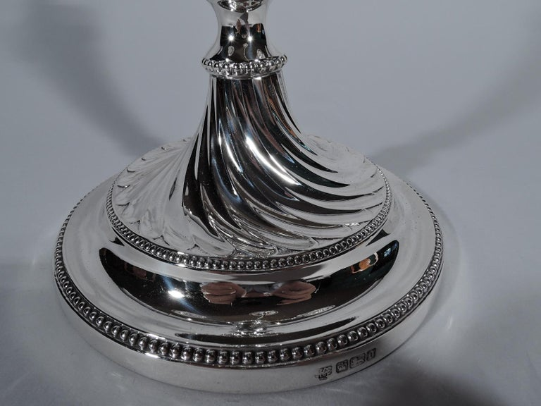 Pair of Antique English Edwardian Sterling Silver 5-Light Candelabra For Sale 5