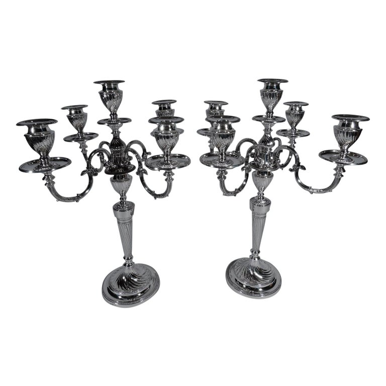 Pair of Antique English Edwardian Sterling Silver 5-Light Candelabra For Sale
