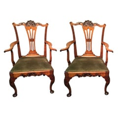 Pair of Antique English Fruitwood Elbow Chairs
