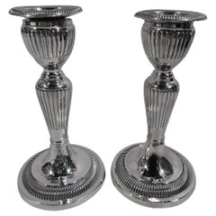 Pair of Antique English Georgian Sterling Silver Candlesticks