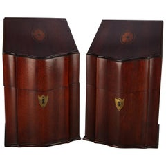 Pair of Antique English Georgian Style Inlaid Mahogany and Bronze Knife Boxes