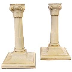 Pair of Antique English Gilt Porcelain Neoclassic Candlesticks