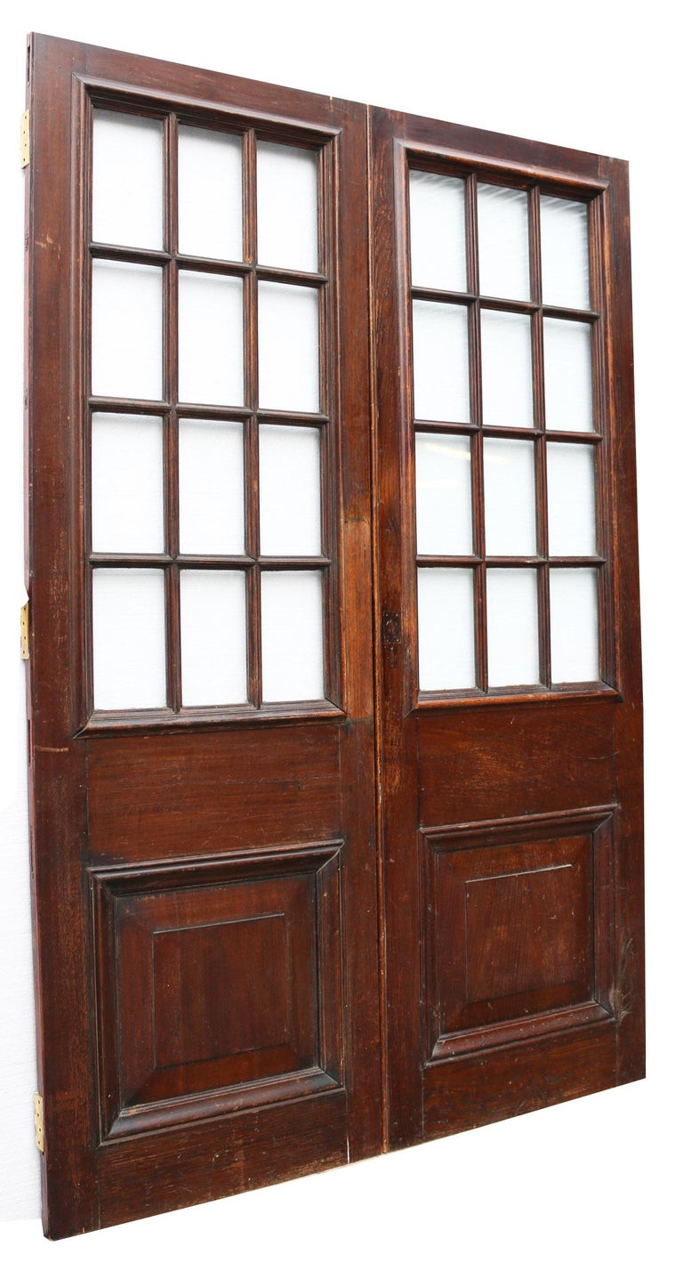 19th Century Pair of Antique English Glazed Oak Double Doors For Sale