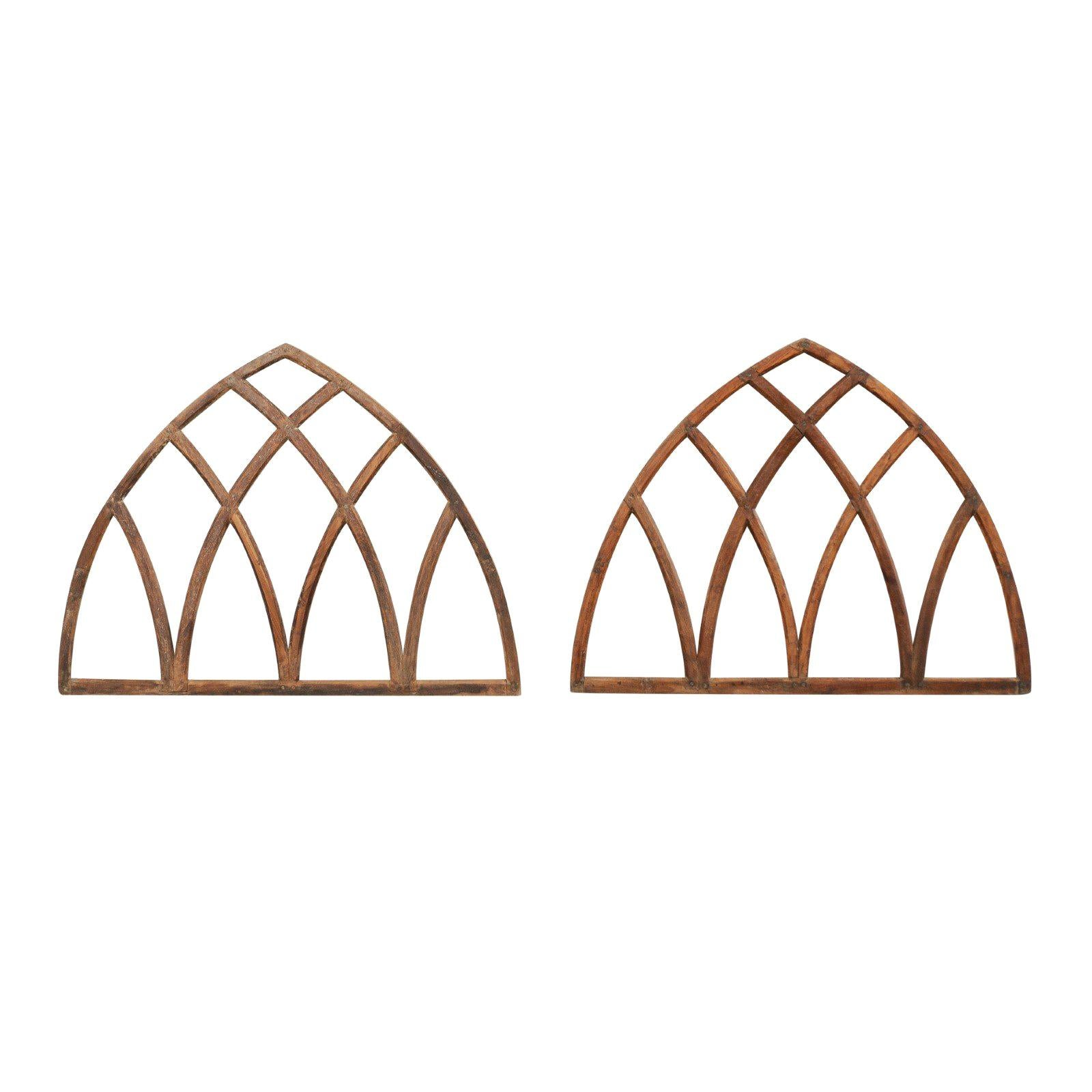 Pair of Antique English Gothic Arch Window Frames
