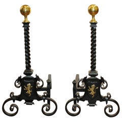 Pair of Antique English Hand Wrought Iron and Cast Brass Monumental Andirons