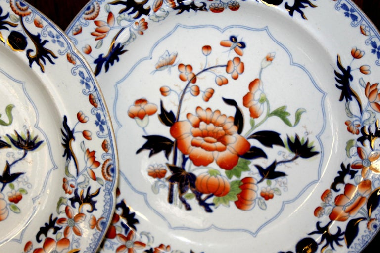 Pair of antique ironstone Imari cabinet plates Maker's marks for Hicks, Meigh and Johnson Shelton, Hanley Staffordshire Please note handsome, early design. Period plates. Mint condition.